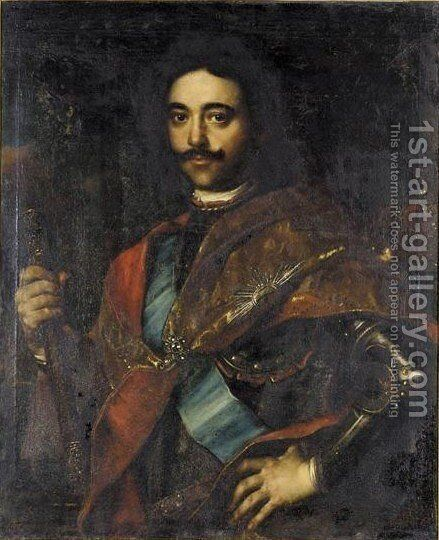 Portrait Von Zar Peter I. (1672-1725) by (after) Jan Kupetzki - Reproduction Oil Painting