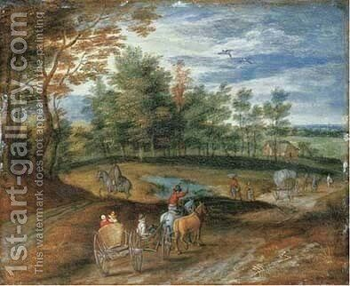 Rural landscape with peasants in horse-drawn carriage on a track by (after) Jan The Elder Brueghel - Reproduction Oil Painting