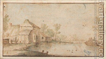 Houses by a river by (after) Jan Van Goyen - Reproduction Oil Painting
