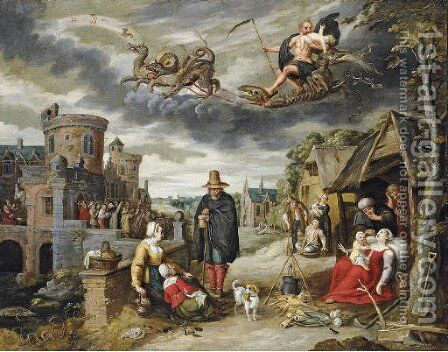 Saturn eating one of his children, with the children of the planet Saturn below by (after) Jan, The Younger Brueghel - Reproduction Oil Painting