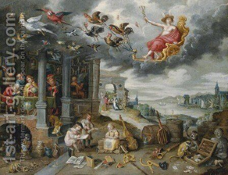 Mercury, with the children of the planet Mercury below by (after) Jan, The Younger Brueghel - Reproduction Oil Painting