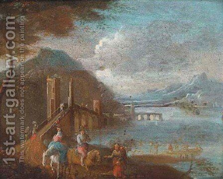 A river landscape with travellers and fishermen by (after) Jan-Pieter Van Bredael - Reproduction Oil Painting