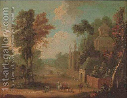 A landscape with figures on a track by a country house by (after) Jan-Pieter Van Bredael - Reproduction Oil Painting