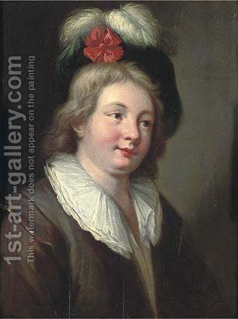 Portrait of a young man by (after) Jean-Alexis Grimou - Reproduction Oil Painting