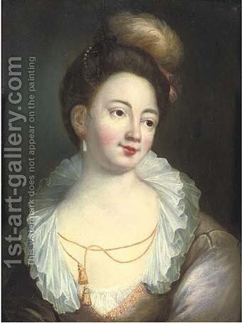 Portrait of a lady, bust-length, in a lilac silk decollete dress with gold brocade and a lace collar by (after) Jean-Alexis Grimou - Reproduction Oil Painting