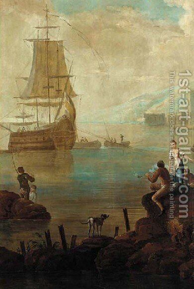 Mediterranaen coastal scene with Europeans by (after) Jean-Baptiste Leprince - Reproduction Oil Painting