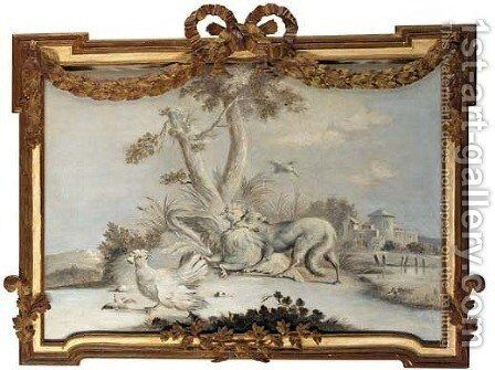 A fox chasing chickens by (after) Jean-Baptiste Oudry - Reproduction Oil Painting
