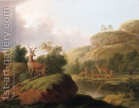 Deer in landscapes by (after) Jean-Baptiste Oudry - Reproduction Oil Painting