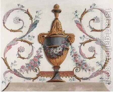 Trompe-l'oeil urns representing the Four Seasons by (after) Jean-Baptiste Pillement - Reproduction Oil Painting