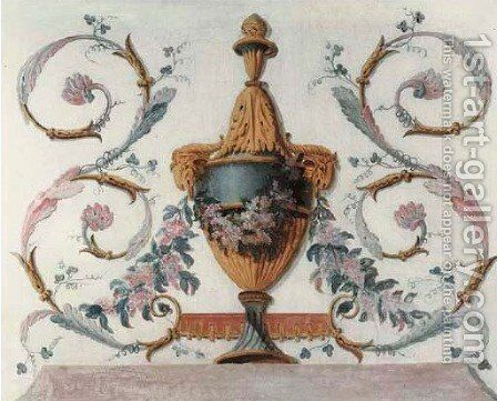 Trompe-l'oeil urns representing the Four Seasons 4 by (after) Jean-Baptiste Pillement - Reproduction Oil Painting