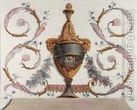 Trompe-l'oeil urns representing the Four Seasons 2 by (after) Jean-Baptiste Pillement - Reproduction Oil Painting