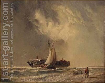Dutch barges in light airs by (after) Johann Adolphe Rust - Reproduction Oil Painting