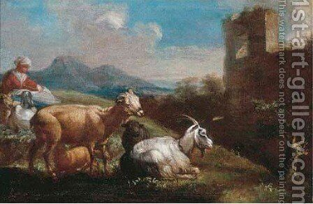 A shepherdess resting with her flock near a ruin in a mountainous landscape by (after) Johann Heinrich Roos - Reproduction Oil Painting