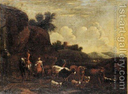 Cattle And Sheep In A Landscape by (after) Johann Heinrich Roos - Reproduction Oil Painting