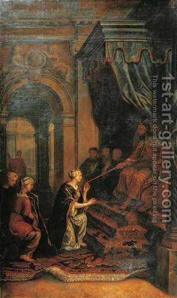 Esther before Ahasuerus by (after) Johann Kaspar Sing - Reproduction Oil Painting