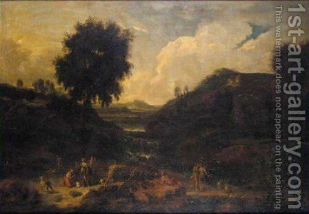 A Classical Landscape With Diana And Her Nymphs Hunting by (after) Johannes (Polidoro) Glauber - Reproduction Oil Painting