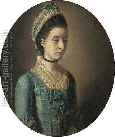 Portrait of a lady, small half-length, in a blue dress, in a painted oval by (after) John Downman - Reproduction Oil Painting
