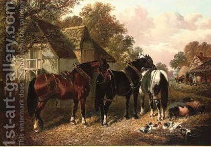 The work horses by (after) John Frederick Jnr Herring - Reproduction Oil Painting