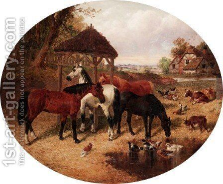 Horses In The Farmyard by (after) John Frederick Jnr Herring - Reproduction Oil Painting
