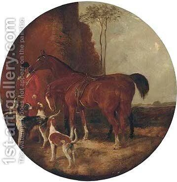 A huntsman with two saddled hunters and a pack of hounds by (after) John Frederick Jnr Herring - Reproduction Oil Painting