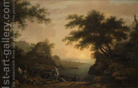The Rape Of A Nymph Before The Temple Of Minerva Medica, A Classical Landscape Beyond by (after) John Hamilton Mortimer - Reproduction Oil Painting