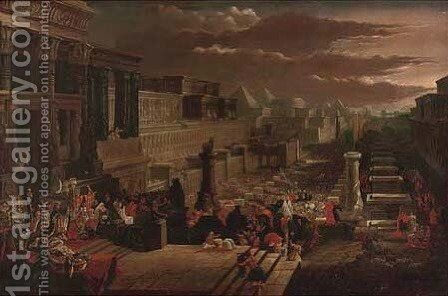 Ceremony in an Egyptian Temple Complex, with a Pharaoh presiding by (after) John Martin - Reproduction Oil Painting