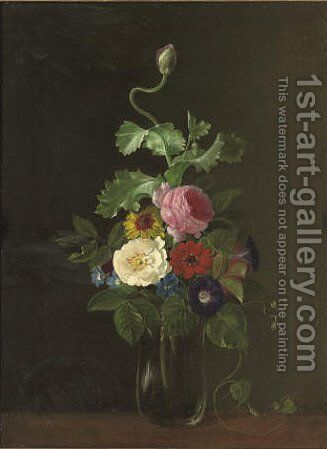 Roses, convolvulus, and morning glory in a glass vase, on a table by (after) John Wainwright - Reproduction Oil Painting