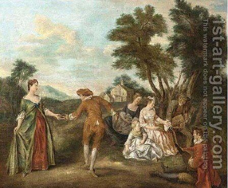 Fete champetre Elegant company dancing and listening to music in a landscape by (after) Joseph Francis Nollekens - Reproduction Oil Painting