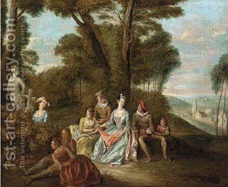 Elegant company seated in a park with a statue of Venus and Cupid by (after) Joseph Francis Nollekens - Reproduction Oil Painting
