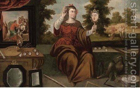 An allegory of the sense of Sight by (after) Juan De Arellano - Reproduction Oil Painting