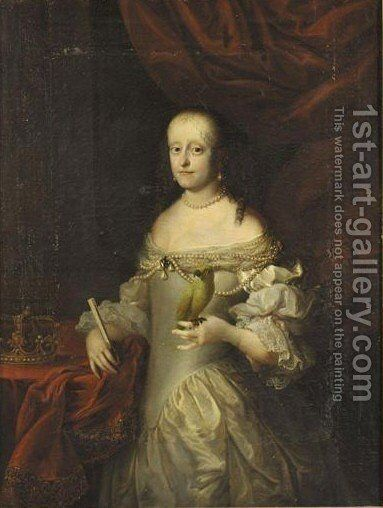 Portrait Von Sophie Amalie, Tochter Von Herzog Georg (1628-1670) by (after) Jurgen Ovens - Reproduction Oil Painting
