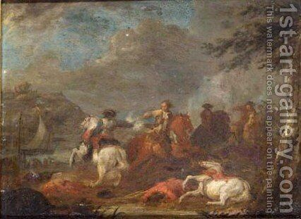 A Cavalry Skirmish 3 by (after) Karel Breydel - Reproduction Oil Painting