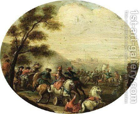 A Cavalry Battle Scene With A Fortified Castle Beyond by (after) Karel Breydel - Reproduction Oil Painting