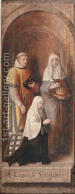 Saints Laurence and Elizabeth of Hungary with a female donor in a feigned stone niche by (after) Lambert Lombard - Reproduction Oil Painting