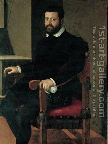 Portrait Of A Gentleman, Three-Quarter Length, Seated By An Open Window by (after) Lavinia Fontana - Reproduction Oil Painting