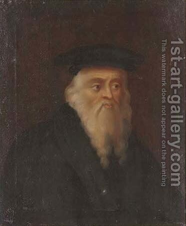 Portrait of a bearded gentleman, quarter-length, in a black coat and hat by (after) Leonardo Da Vinci - Reproduction Oil Painting