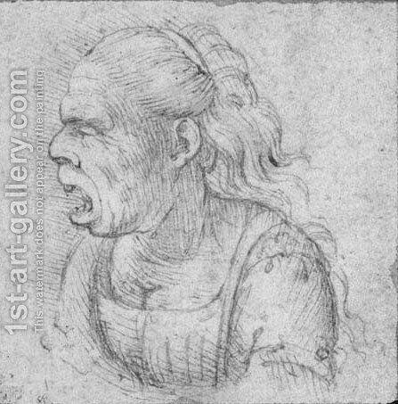 Caricature of an old woman in profile by (after) Leonardo Da Vinci - Reproduction Oil Painting