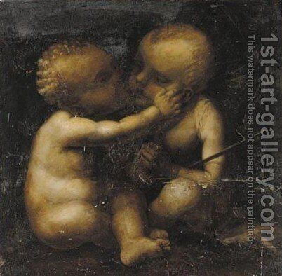 The Infant Christ And John The Baptist by (after) Leonardo Da Vinci - Reproduction Oil Painting