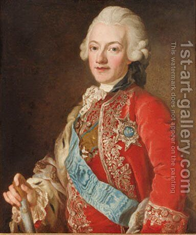 Portrait of King Gustav III of Sweden by (after) Lorentz Pasch II - Reproduction Oil Painting