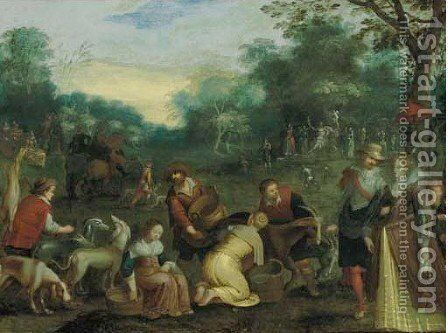 The Four Seasons, with Triumphs of the Seasons in the background 3 by (after) Louis De Caullery - Reproduction Oil Painting