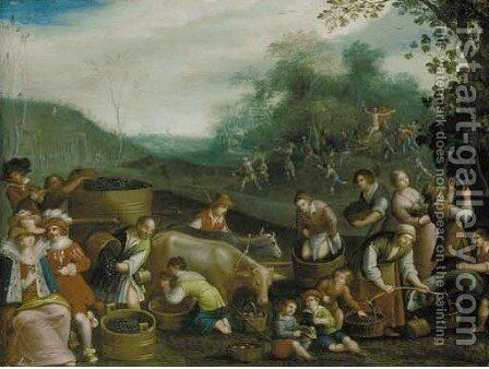 The Four Seasons, with Triumphs of the Seasons in the background 2 by (after) Louis De Caullery - Reproduction Oil Painting