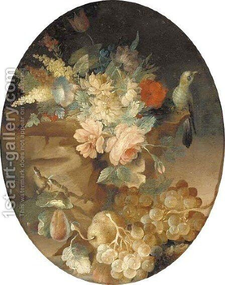 Roses, tulips, carnations, grapes, pears and a bird on a rock by (after) Louis Vidal - Reproduction Oil Painting