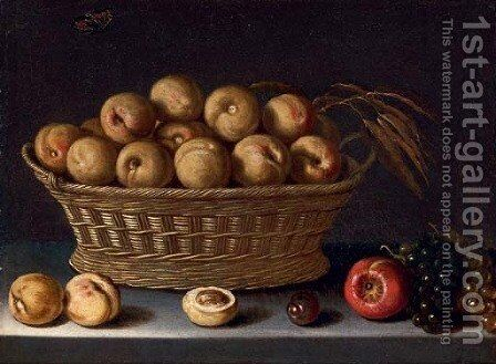 A basket of peaches with grapes, an apple and a plum, on a ledge by (after) Louise Moillon - Reproduction Oil Painting