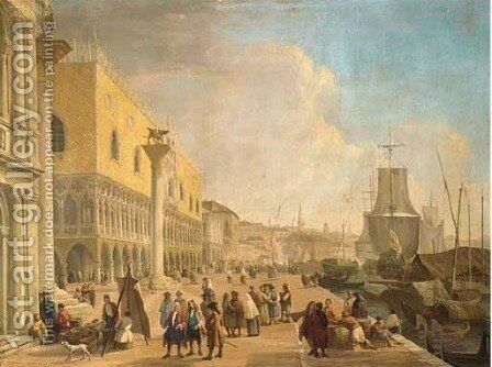 The Molo and the Riva degli Schiavoni, Venice by (after) Luca Carlevarij - Reproduction Oil Painting