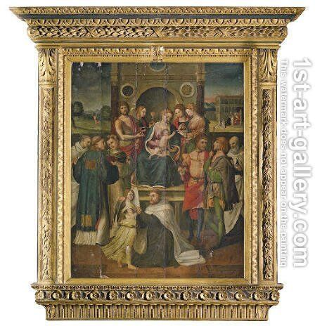 The Madonna and Child with Saints by (after) Luca Longhi - Reproduction Oil Painting