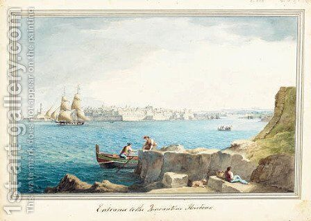 Entrance to the Zuarantine harbour by (after) Luigi Mayer - Reproduction Oil Painting