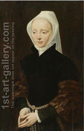 Portrait Of A Lady, Three-Quarter Length, Wearing A White Headscarf And An Ermine Wrap by (after) Maerten Van Heemskerck - Reproduction Oil Painting