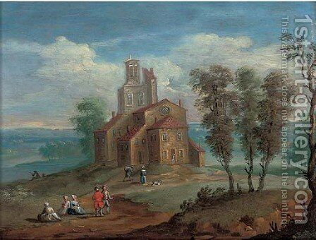 A landscape with figures by a church by (after) Marc Baets - Reproduction Oil Painting