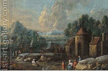 River landscape with peasants 2 by (after) Marc Baets - Reproduction Oil Painting
