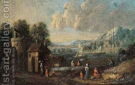 River landscape with peasants 4 by (after) Marc Baets - Reproduction Oil Painting